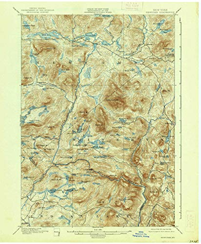 YellowMaps Newcomb NY topo map, 1:62500 Scale, 15 X 15 Minute, Historical, 1901, Updated 1938, 20.1 x 16.6 in - Paper
