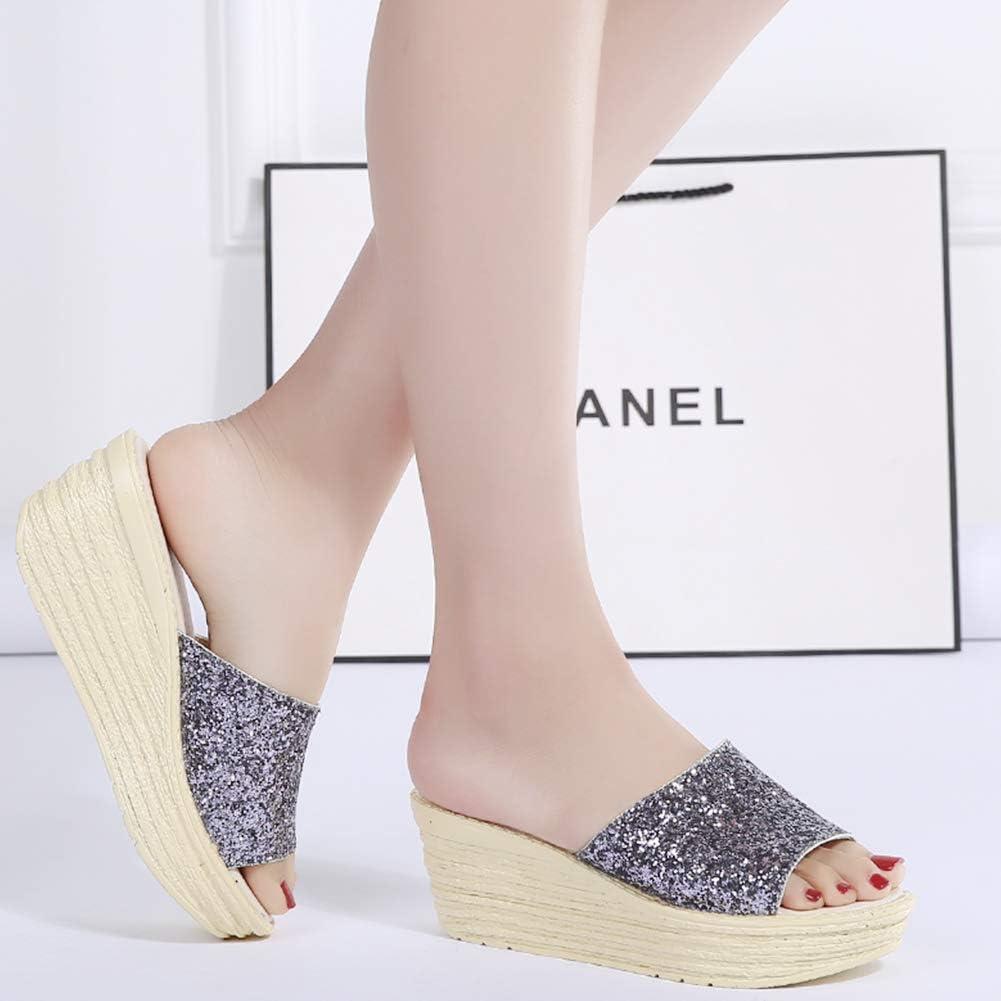 Sandales Wedge Femme,Mules Compens/ées Femme Paillettes Sandale Compens/ée Femme Et/é