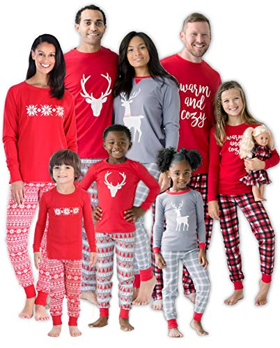 SleepytimePJs Christmas Family Matching Mix and Match Red Holiday Pajama PJ Sets (STM-3039-K-3105-12)