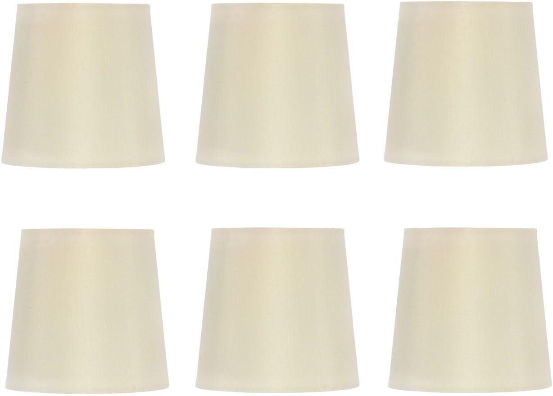 Upgradelights Set of 6 Silk Chandelier Lamp Shades 5 Inch Euro Style Drum Eggshell Silk 4x5x4.5