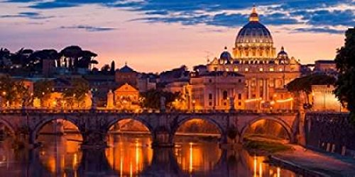 Night view at St Peters cathedral Rome Poster Print by Anonymous (10 x 20) ()