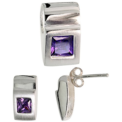 Fancy Colored Stone Sets (Sterling Silver Matte-finish Fancy Earrings (11mm tall) & Pendant Slide (15mm tall) Set, w/ Princess Cut Amethyst-colored CZ Stones)