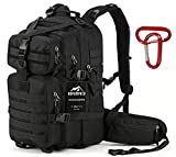 RUPUMPACK 35L Military Tactical Assault Backpack with Aluminium Carabiner Clip, Hydration Compatible Backpack, Army MOLLE Bug Out Bag for Outdoor Hiking Camping Trekking Hunting Daypack, Black