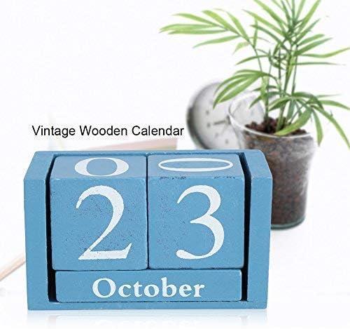 Fdit vintage in legno calendario desktop Time Concept legno rustico perpetuo mese data Display Home Office decorazione Scarpette a strappo Voltaic 3 Fade Bambini