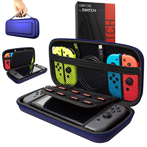 Orzly Carry Case Compatible With Nintendo Switch - MIDNIGHT BLUE Protective Hard Portable Travel Carry Case Shell Pouch for Nintendo Switch Console & Accessories