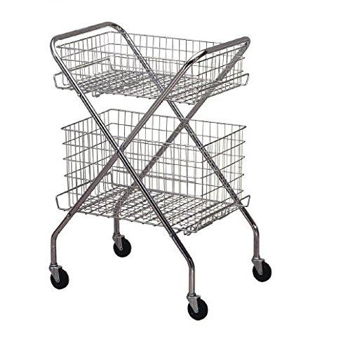 McKesson 81-63020 Entrust Multi-Purpose Steel Cart, Wire Basket, 14.5'' Height, 24.5'' Width, 6'' Length, Silver
