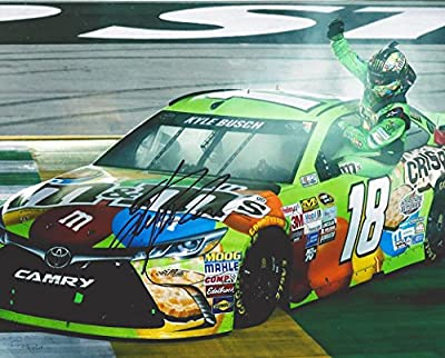 AUTOGRAPHED 2015 Kyle Busch #18 M&Ms Crispy Racing KENTUCKY WIN (Burnout Celebration) 8X10 Signed Picture NASCAR Glossy Photo with COA