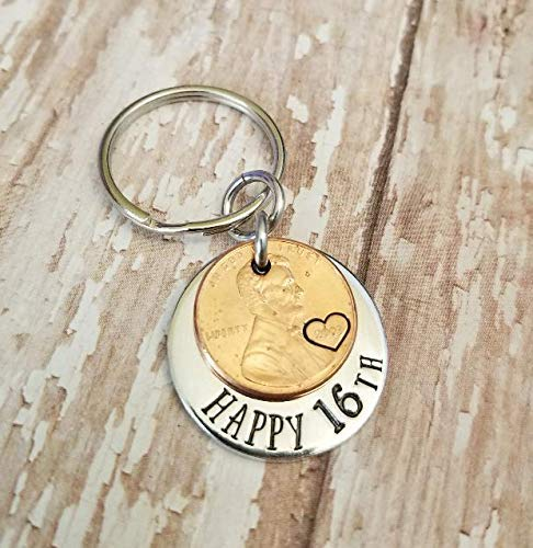 - Lucky 2003 Penny Happy 16th Birthday Gift with a Copper Coin Key Chain