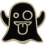 Real Sic Ghost Emoji Enamel Pin - Halloween Pins Series - Cute Snapchat Ghost Emoji Pin for Backpacks, Jackets, Hats & Tops