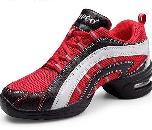 VECJUNIA Ladies Lace-Up Mesh Dance Trainer Dance Sneaker Dance Shoes Red SxGTu7