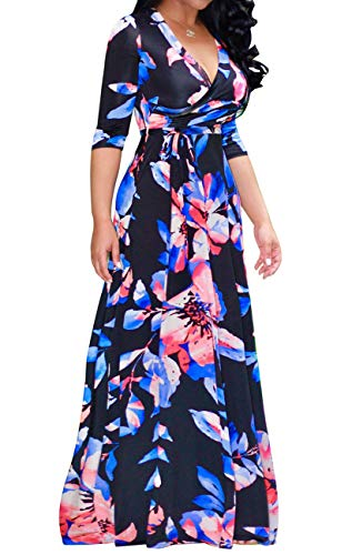 - Women's Sexy Stylish V Neck Floral Long Maxi Dresses Casual Loose Half Sleeve Dress with Belt