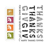 ShopForAllYou Stamping & Embossing Color Layering''Thanksgiving'' Clear Stamps + Mini Ink Pad Set Bundle