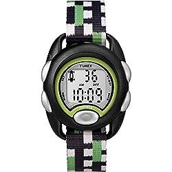 Timex Boys TW7C13000 Time Machines Digital Black/Green Fabric Strap Watch