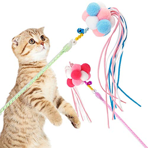 Cat Toys Interactive Cat Wands Teaser 2 PCS Kitten Toys Cat Stick with Balls, Bells and Tassel for Cat Kitten Having Fun Exercise Playing