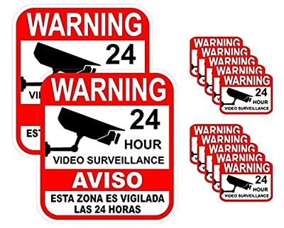 12-Pcs Radiant Unique Warning 24 Hour Video Surveillance Sticker Decal Signs 24Hr Business Alarm Under Cameras Protect Hr Decals Sign House Neighbor Fence Property Yard Doors 2-Large 10-Small Spanish