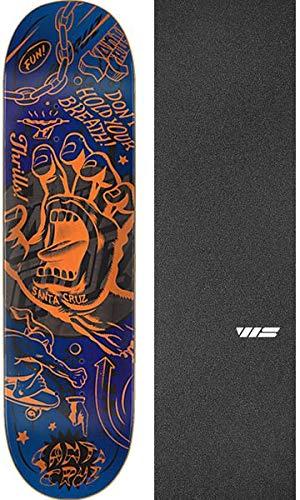 "Santa Cruz Skateboards Flash Hand Skateboard Deck - 8.8"" x 32.5"" with Jessup WS Die-Cut Black Griptape - Bundle of 2 Items"