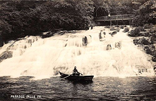 Paradise Falls Waterfall (Paradise Falls Pennsylvania Waterfall Rowboat Real Photo Antique Postcard K68802)