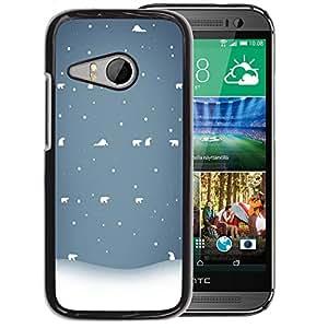 Planetar® ( Winter White Blue Nostalgic ) HTC ONE MINI 2 / M8 MINI Fundas Cover Cubre Hard Case Cover