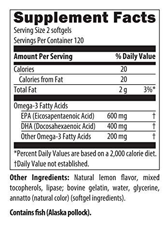 Designs for Health - OmegAvail Ultra - 1200mg Triglyceride (TG) Fish Oil, 240 Softgels by designs for health (Image #2)