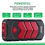 BASAF Car Jump Starter 600A Peak (up to 5.0L Gas or 2.8T/3.0L Diesel), Portable Battery Booster Pack Emergency Kit, JX10 Multifunction Power Bank with Smart USB Charge Port, LED SOS Light