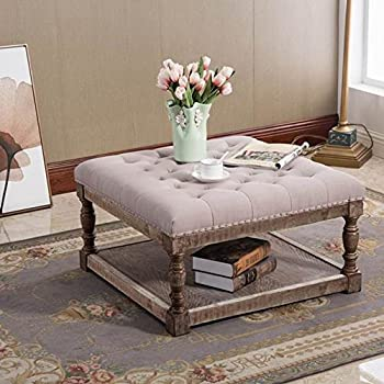 Amazon Com Kathy Kuo Home Square Tufted Linen Natural Elm