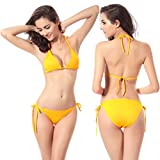Software : Keepfit Multicolor Bandage Swimwear, Women String Bikini Push-up Bra Swimsuit (Yellow)