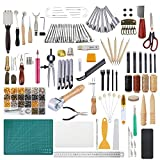Dorhui 372 Pieces Leather Crafting Tools Kit, Leather Working Tools and Supplies, Leather Craft Stamping Tools, Prong Punch, Hole Hollow Punch, Matting Cut for DIY Leather Artworks