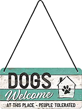 Nostalgic-Art 28015, Cartel de Huellas – Dogs Welcome, Cartel, 10 x 20 cm