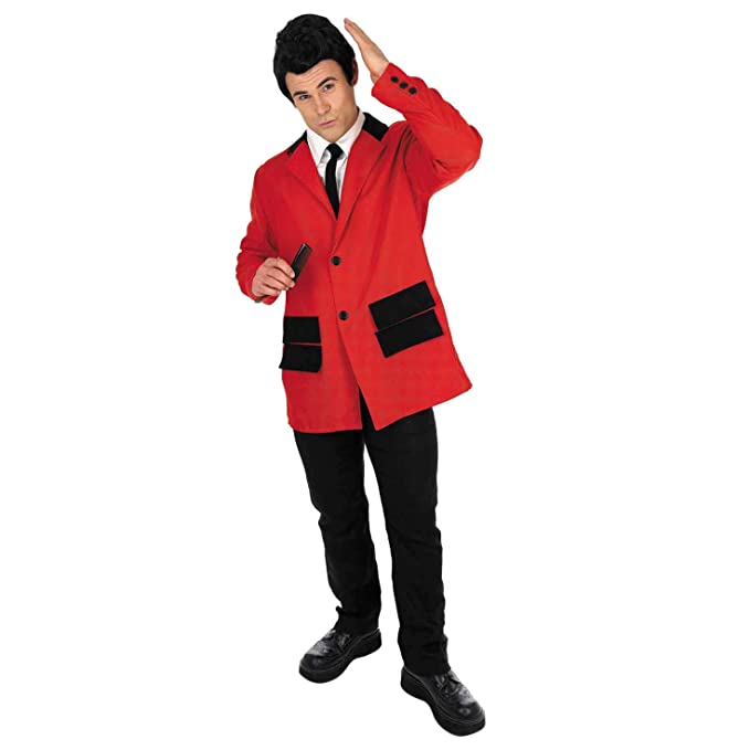 60s -70s  Men's Costumes : Hippie, Disco, Beatles fun shack 50s-Mens Sample Red Teddy Boy Suit $19.95 AT vintagedancer.com