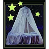 Childrens Girls Pretty Princess White Glow in the Dark Canopy, Glowing Stars Night Time Bed Frame Draperies Over Hanging to Floor Canopies Drapes Sleeping Bedroom Skirt Cover Girly, Kids Polyester