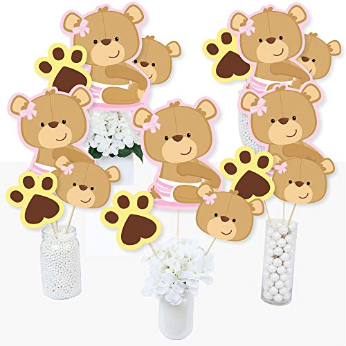 Baby Girl Teddy Bear - Baby Shower Centerpiece Sticks - Table Toppers - Set of 15