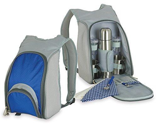 Coffee Picnic Backpack - Picnic Coffee Set for Two Includes Stainless Steel Mug, Spoon, Napkin, & 500 ml Stainless Steel Flask
