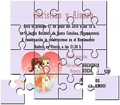 Invitaci/ón para boda puzzle en lata Pack de 6 unidades