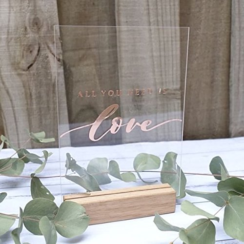 UNIQOOO 20 Pack Clear Blank Acrylic Sign - 5x7 Inch Table Number Signs, Wedding Signs, Card and Gift Signs, Event Party Signs, Hand Lettering Quotes, Gift Ideas - Wood Stand NOT Included ()