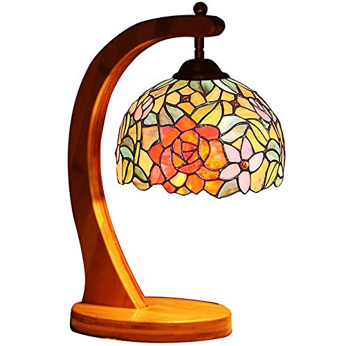 Vintage Table lamp,Tiffany Style Color Glass Bamboo Base Night Light Decoration Bedroom Dining Room Bedside Reading Light-A 39x20cm(15x8inch)