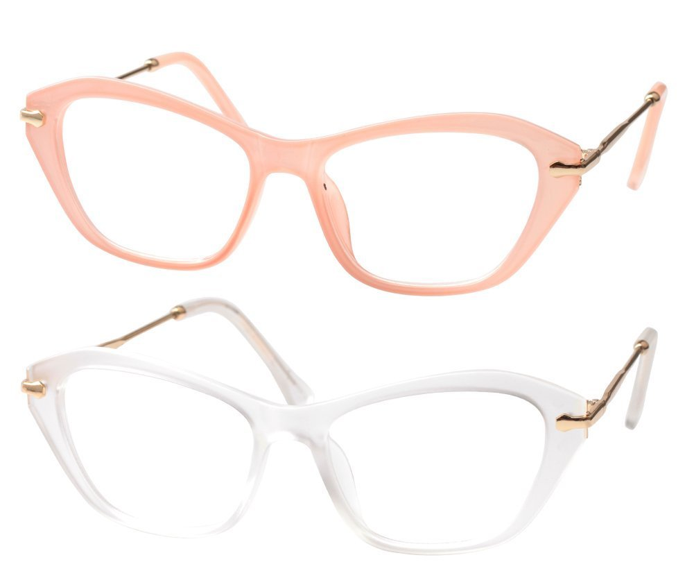 SOOLALA Womens Quality Fashion Alloy Arms Cateye Customized Reading Glasses, PinkTrans, 4.0