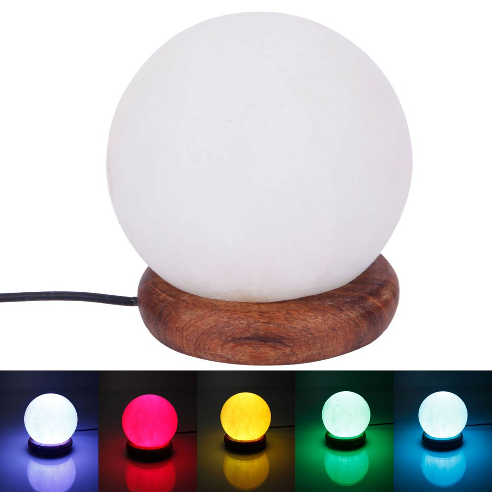 USB Powered 7 LED Colors Spherosome Natural Rock Himalaya Salt Lamp White