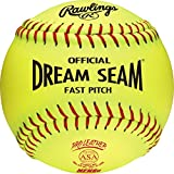 Rawlings Sporting Goods C12RYLAH Official ASA Dream Seam Fast Pitch Softballs (One Dozen), Yellow, Size 12