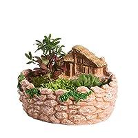 NCYP Fairy Resin Planter, Modern Garden Miniature Log Cottage Rock Fence Sweet House Flower Pot for Succulent Plants, Indoor Outdoor Tabletop Cottage Sculpture Decorative Flowerpot Orange No Plants