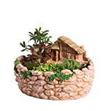 NCYP Fairy Resin Planter, Modern Garden Miniature Log Cottage Rock Fence Sweet House Flower Pot for Succulent Plants, Indoor Outdoor Tabletop Cottage Sculpture Decorative Flowerpot Orange No Plants For Sale