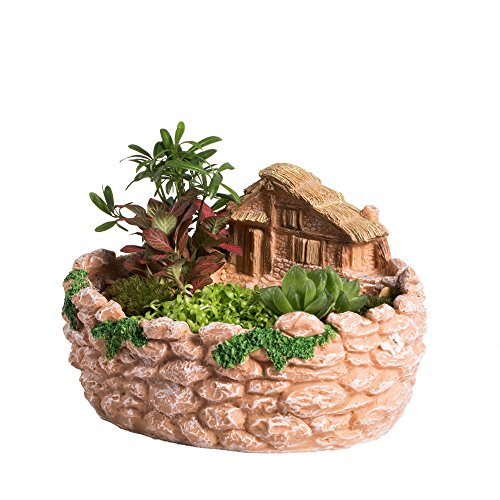 NCYP Fairy Resin Planter, Modern Garden Miniature Log Cottage Rock Fence Sweet House Flower Pot for Succulent Plants, Indoor Outdoor Tabletop Cottage Sculpture Decorative Flowerpot Orange No Plants