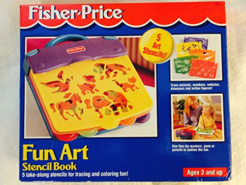 Fisher-Price Fun Art Stencil Book with 5 take-along stencils for tracing and coloring fun -