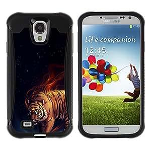 Fuerte Suave TPU GEL Caso Carcasa de Protección Funda para Samsung Galaxy S4 I9500 / Business Style Tiger Fire Fiery Blue Darkness Black Animal