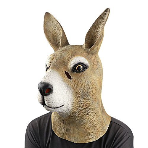 Animal Head Costume (Kangaroo Head Mask - Animal Mask by Monstleo,Halloween Costume Party Kangaroo Toy Mask for Masquerade/Birthday Parties,Gifts,Carnival,Christmas Decorations)