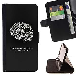 - Brain Ideas Inspiring Genius Quote - - Prima caja de la PU billetera de cuero con ranuras para tarjetas, efectivo desmontable correa para l Funny HouseFOR Samsung Galaxy S6 EDGE