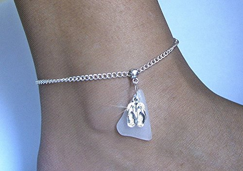 Flip Flop Anklet - Flip flops anklet with white sea glass. Sea glass jewelry.