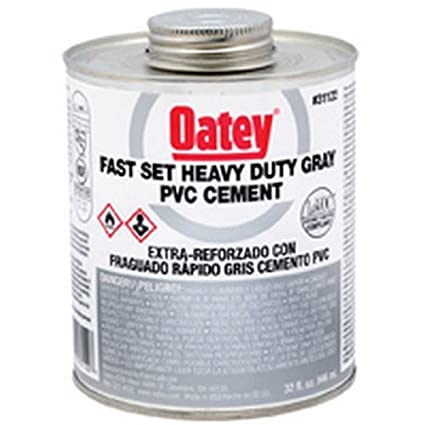 Oatey 31122 Fast-Set-Heavy-Duty-Gray-PVC solvent cement 32 oz