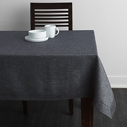 Solino Home 100% Pure Linen Plain Tablecloth Athena, Natural Rectangular Table Cloth for Indoor and Outdoor Use, 60 x 120 Inch Grey Tablecloth