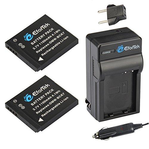 EforTek DMW-BCK7 Replacement Battery (2-Pack) and Charger Kit for Panasonic DMW-BCK7,DMW-BCK7PP,DMW-BCK7E,NCA-YN101G and Panasonic Lumix DMC-FP5, DMC-FP7,DMC-FH2, DMC-FH5, DMC-FH24, DMC-FH25, DMC-FH27, DMC-FS16, DMC-FS18, DMC-FS35, DMC-FS37, DMC-FX77, DMC-FX78, DMC-S1, DMC-S3