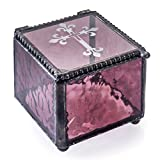 J Devlin Box 709-2 Cross Keepsake Box Engraved Christian Cross Christening Baptism First Communion Confirmation Rosary Dusty Rose Purple Stained Glass Jewelry Box Trinket